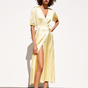 NEW ZARA YELLOW SATIN WRAP DRESS LONG MAXI PUFF